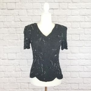 Adrianna Papell Boutique beaded vtg black top